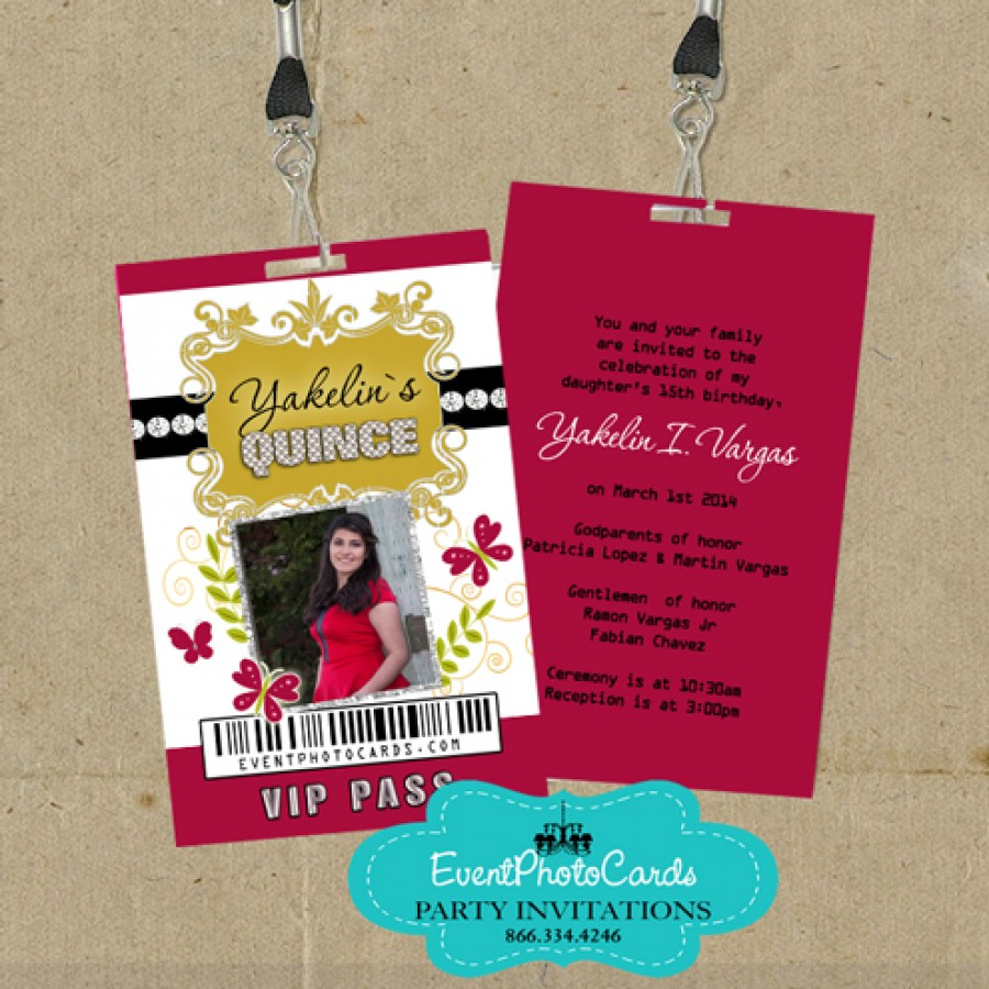 Red & Gold Quince - Butterflies for Teen Invites Sweet 15 Girls