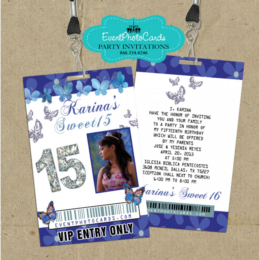 blue butterfly vip pass invites - Royal Blue Quinceanera Invitations
