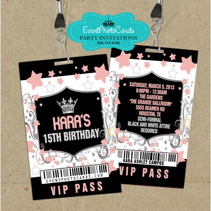 Coral & Gold Lanyard Invite - Party. High School Dance Party Invites