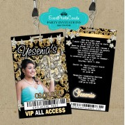 Gold Black 15 Birthday Invitations Vip Pass