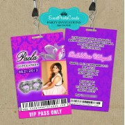 Pink & Purple  Vip Pass Sweet 16 Invitations