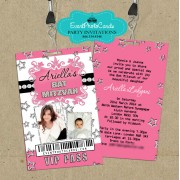 Stars Pink Bat Mitzvah Vip Pass Invitations