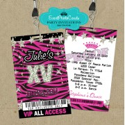 Pink Zebra XV Pass  Quinceanera Invitations