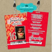 Red Gold Vip Pass Sweet 16 Invitations
