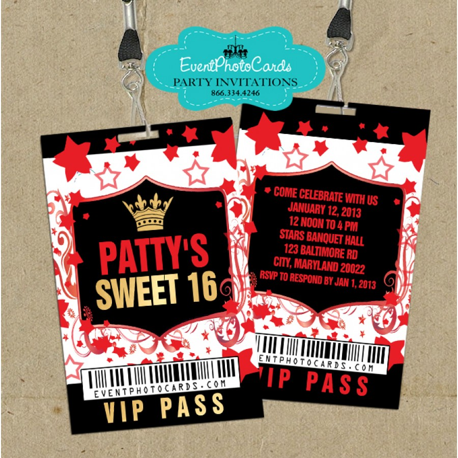Red Gold Vip Pass Stars -sweet 16 vip pass invitations
