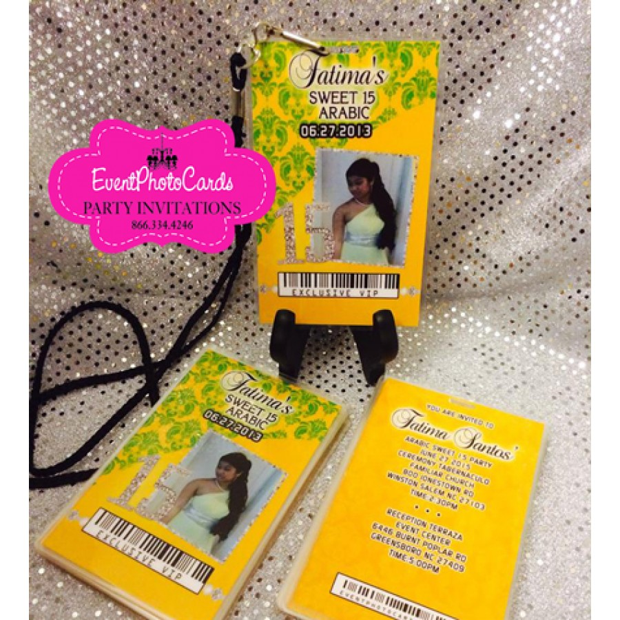 Damask VIP PASS Quince Invites or Sweet Sixteen