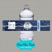 Denim Blue Jeans Wedding  Water Bottle Label