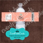 Coral Star Quinceanera Water Bottle Label