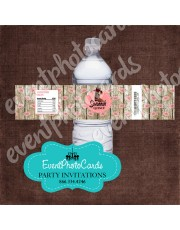 Western Floral Pink Water Bottle Label