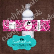 Pink Bandanna Water Bottle Label