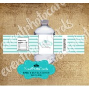 Light Teal Stripes  Water Bottle Label - Wedding