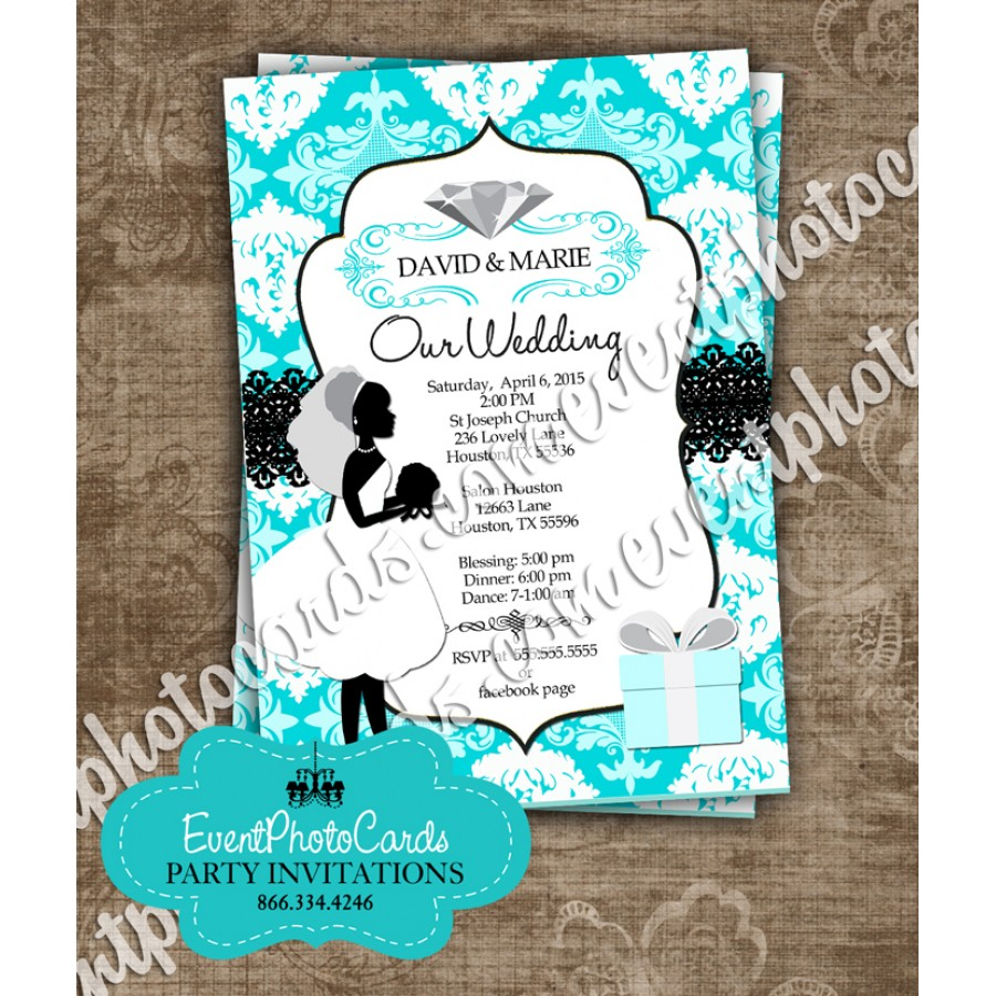 Tiffany Wedding Damask Couture, Simple & Affordable Wedding Invitations