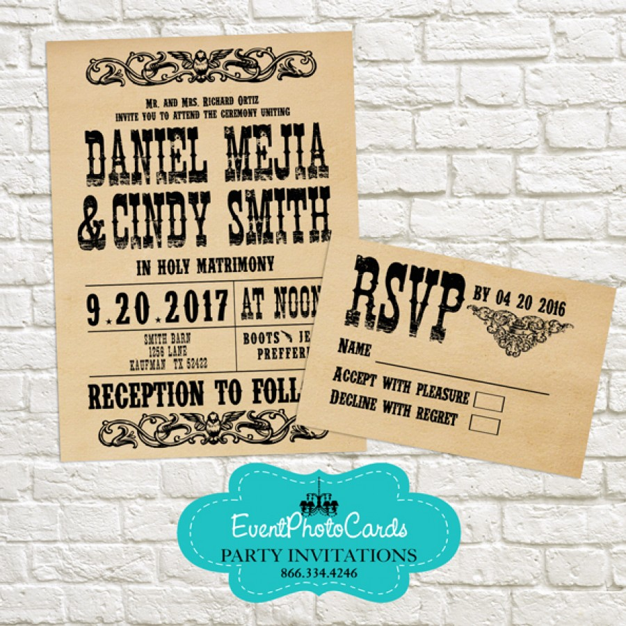 Wanted Poster Invitation RSVP Set