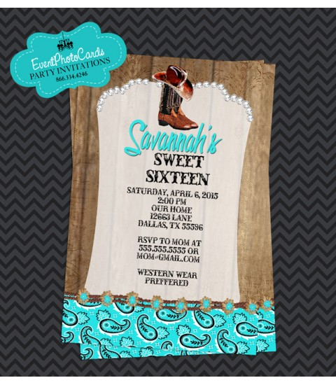 Aqua Rustic Western Cowgirl, Quinceanera Invitations , Sweet 15th Announcements