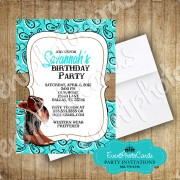 Aqua Boots Western Sweet 16  Invitations