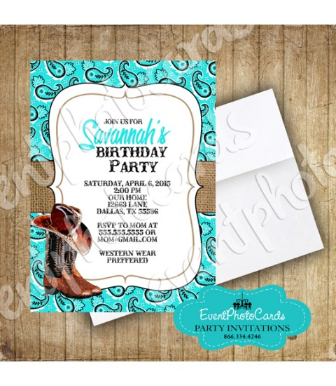Aqua Boots Western Invitations Quinceanera Invitations , Sweet 15th Announcements