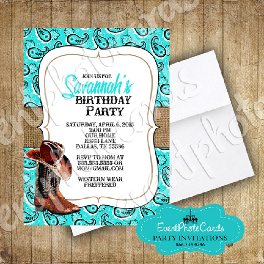 Western Boots Aqua Wedding Invitations Wedding Announcements