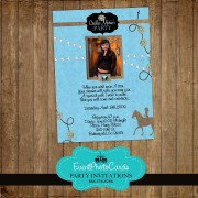 Cowgirl Quinceanera Photo Invitations - Blue