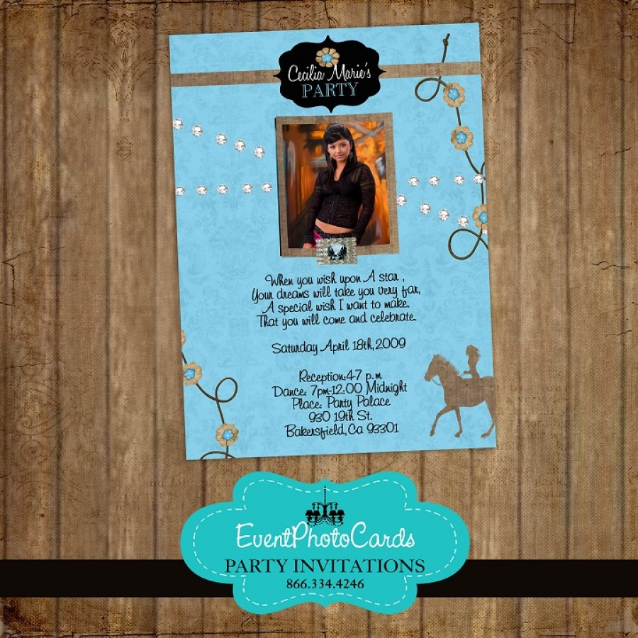 blue western cowgirl quinceanera photo invitations  sweet
