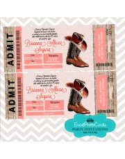 Rustic Western Cowboy Boot Quinceanera Invitations