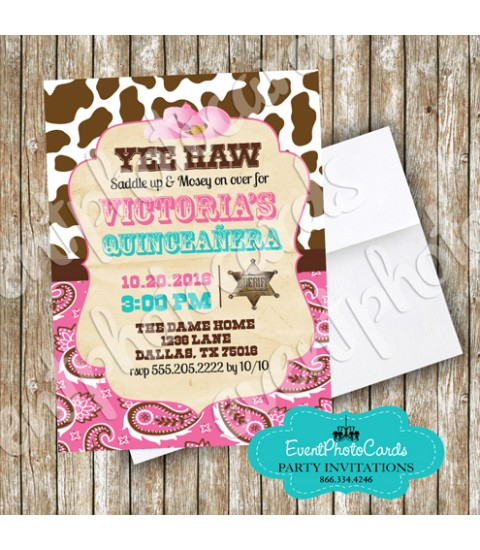 Girly Cowgirl Western  , Quinceanera Invitations , Sweet 15th Announcements