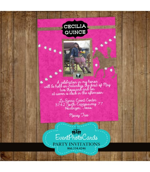 Pink Western Cowgirl Quinceanera Photo Invitations