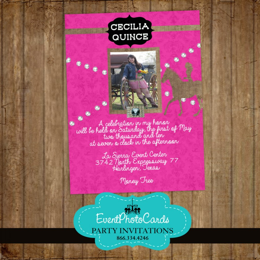 Pink Western Cowgirl Quinceanera Photo Invitations Sweet