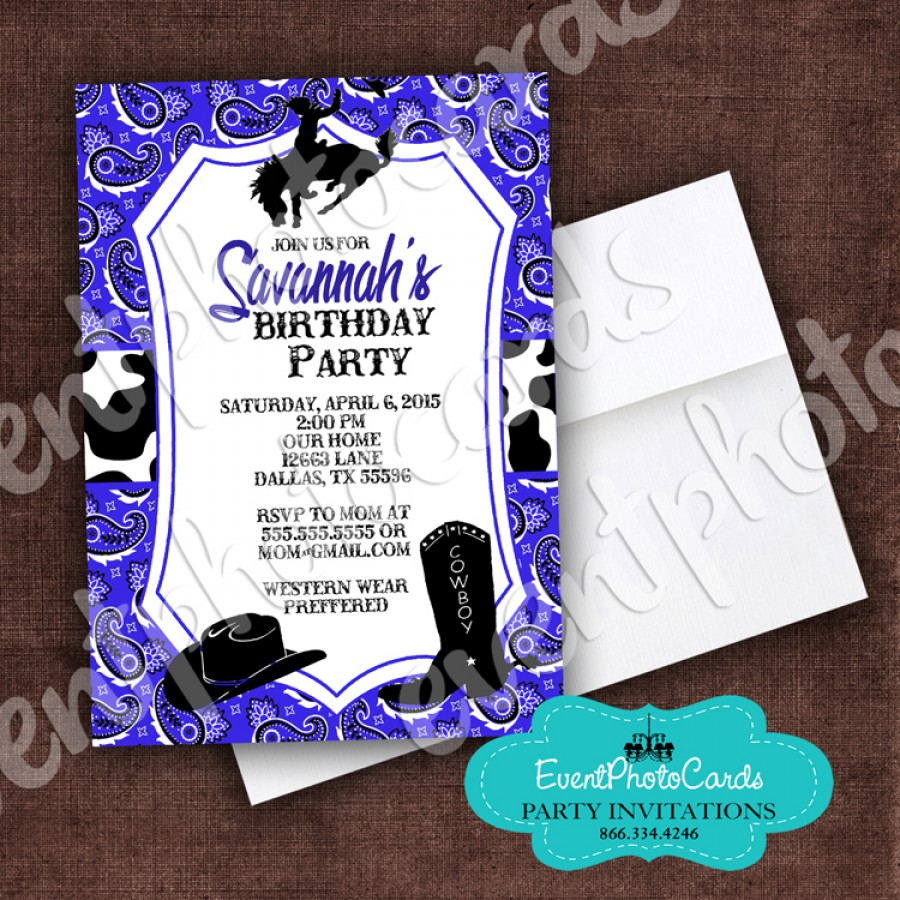 Purple Western Cowgirl, Quinceanera Invitations , Sweet ...