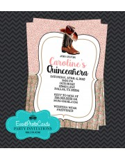 Lace Pink  Quinceanera Western Invitations