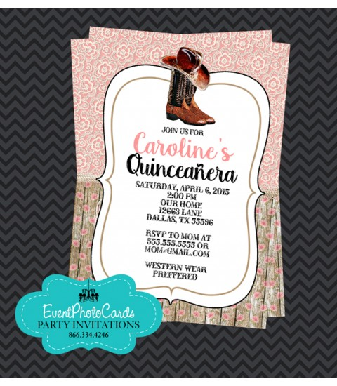 Lace Floral Pink  Western Invitations, Quinceanera Invitations , Sweet 15th Announcements