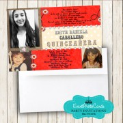 Red Western Cowgirl Sweet 15 Photo Invitations -  Floral