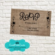 Brown Rustic Reservation Card