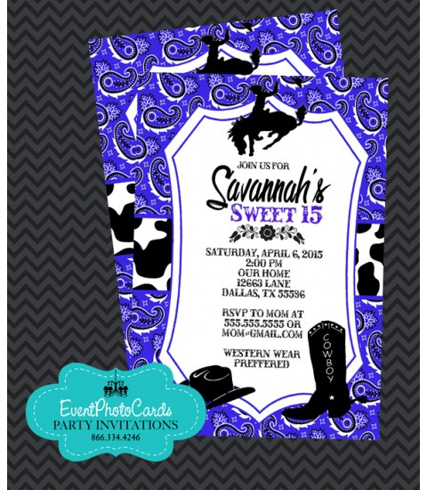 Purple Western  Cowgirl, Quinceanera Invitations , Sweet 15th Announcements