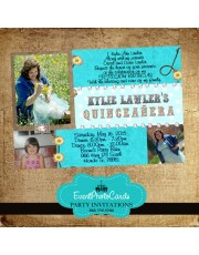 Teal Cowgirl Quinceanera Photo Invitations