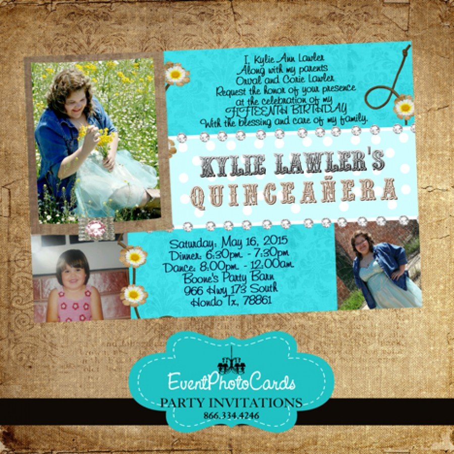 teal cowgirl quinceanera photo invitations  sweet fifteen or 16 invitations
