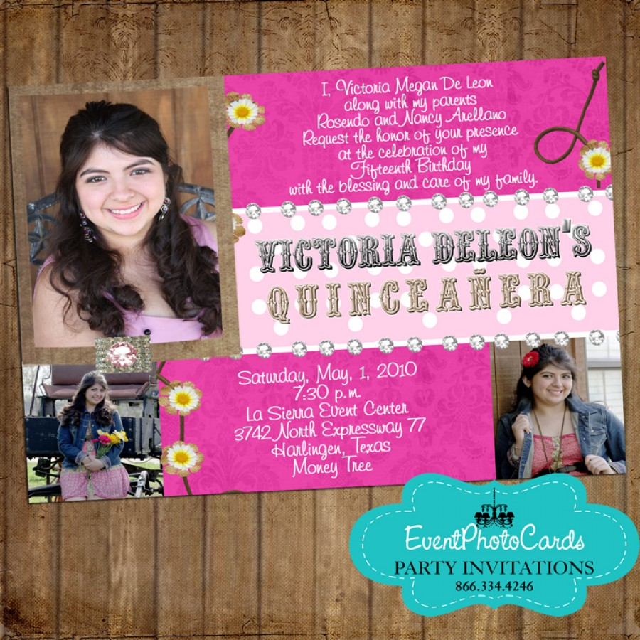 pink western cowgirl quinceanera photo invitations  sweet fifteen invitations