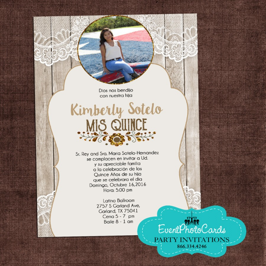 Western Lace Rustic Sweet 15th Invitations - Photo ...