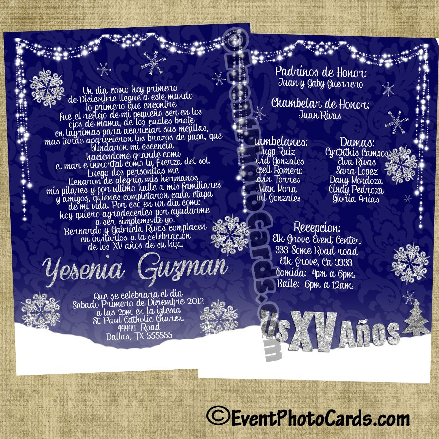 Winter Wonderland Quinceanera Invitations Personalized