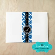 Royal Bluel Damask Envelope Wrap