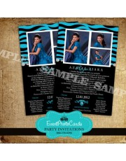 Zebra Invitations Photo Quinceanera - Aqua