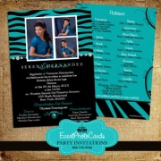 Teal Zebra Sweet 15 Invitations with Back Printing