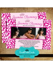 Pink Jewel Princess Quinceanera Photo Invites