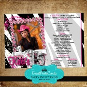 Zebra Invitations - Photo Quinceanera -Bling Pink