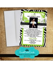 Zebra Invitations Lime Green