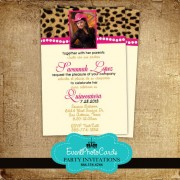 Leopard Beige Pink  Invitations - Photo Quinceanera