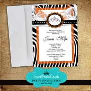 Orange Zebra Invitations Monogram