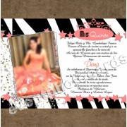 Coral Stars Quinceanera Photo Invitations
