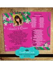 Stars Pink and Green Quinceanera Photo Invitations