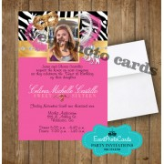 Zebra Gold Mask - Pink Quinceanera Invitations