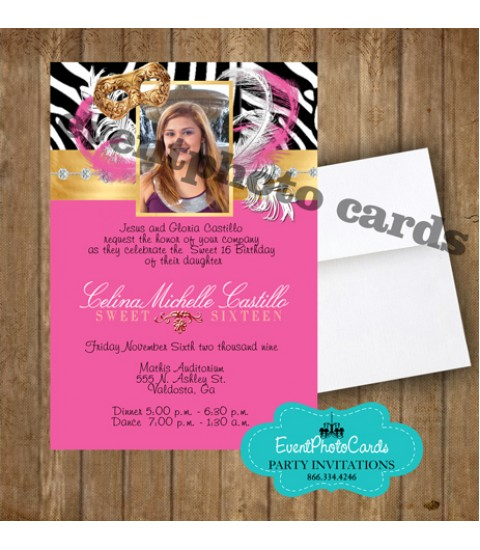 Pink Zebra Gold Mask, Sweet 16 Birthday Invitations